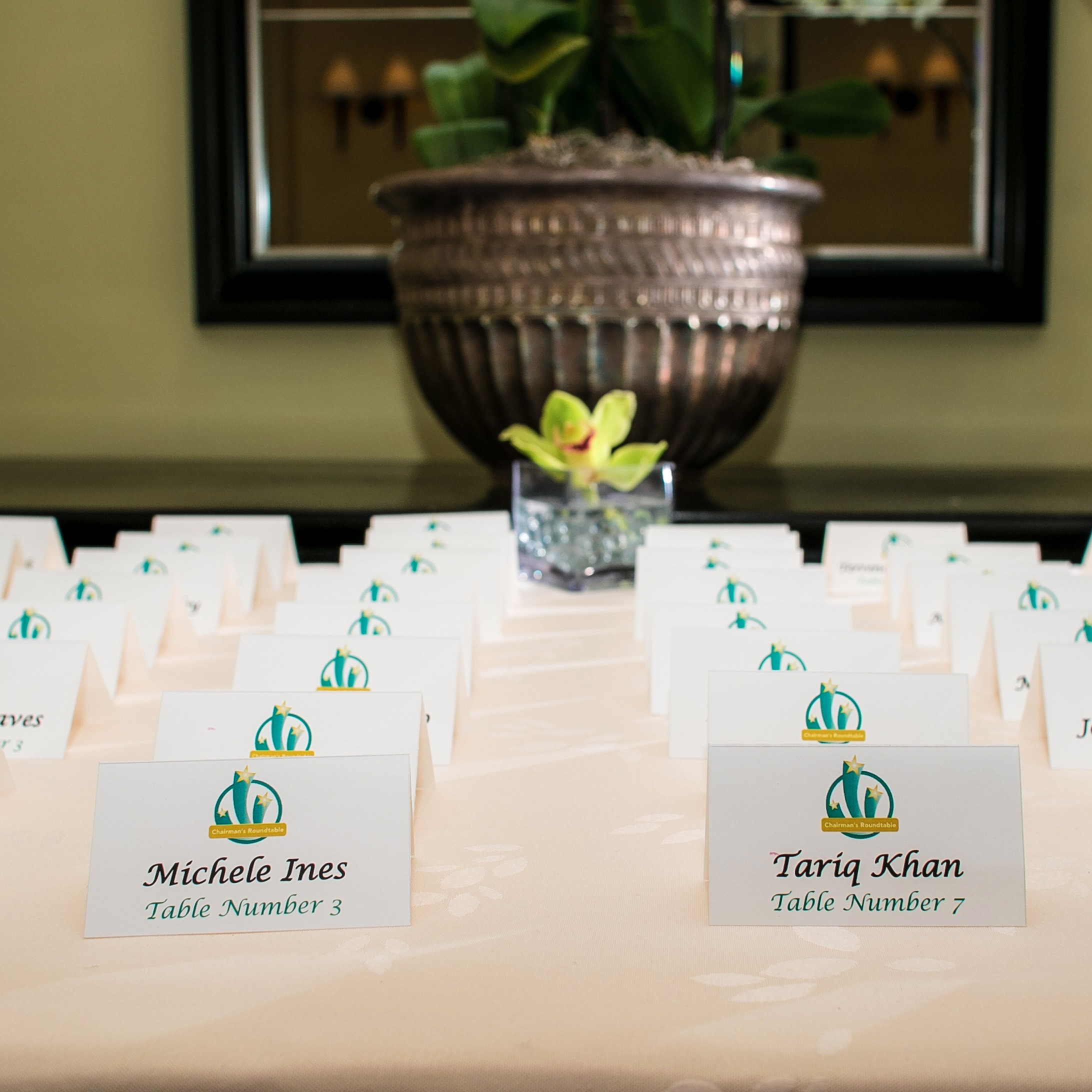 name tags used for corporate event planning services