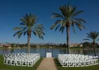 Outdoor Wedding Ceremony at a Lakeside Resort in Scottsdale